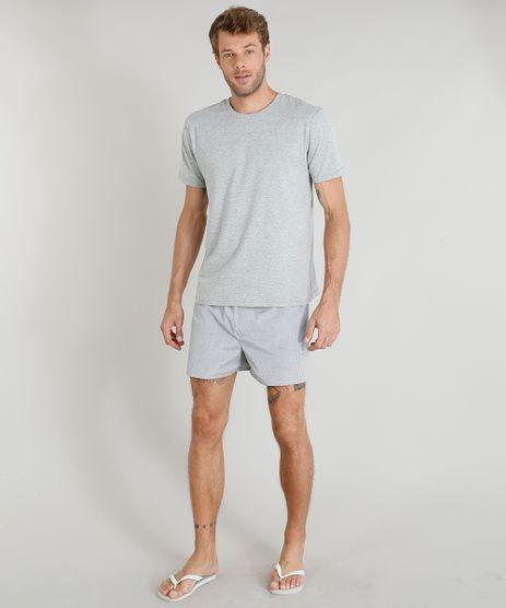 Pijama-Masculino-de-Camiseta-Manga-Curta---Samba-Cancao-Cinza-Mescla-9321768-Cinza_Mescla_1