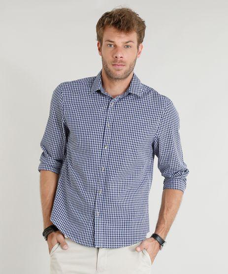 Camisa-Masculina-Comfort-Xadrez-Manga-Longa-Azul-Marinho-9253842-Azul_Marinho_1