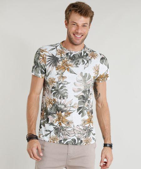 493083f94f Menor preço em Camiseta Masculina Slim Fit Estampada de Folhagens Manga  Curta Gola Careca Cinza Mescla