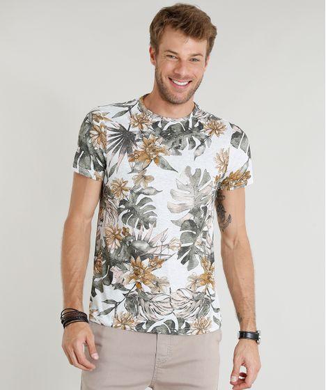 f5703fb59a Camiseta Masculina Slim Fit Estampada de Folhagens Manga Curta Gola ...