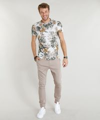 73eaa48db6 Camiseta Masculina Slim Fit Estampada de Folhagens Manga Curta Gola ...