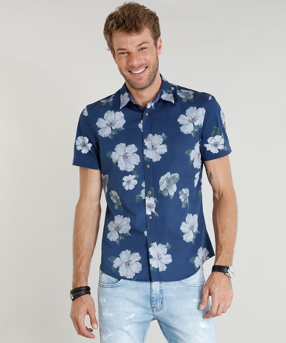 22326f8f5 Camisa Masculina Comfort Estampada Floral Manga Curta Azul Marinho - cea
