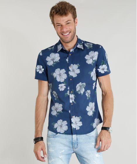 14f02c5ce Camisa Masculina Comfort Estampada Floral Manga Curta Azul Marinho - cea