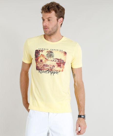 Camiseta-Masculina--Summer-Paradise--Manga-Curta-Gola-Careca-Amarela-9374282-Amarelo_1