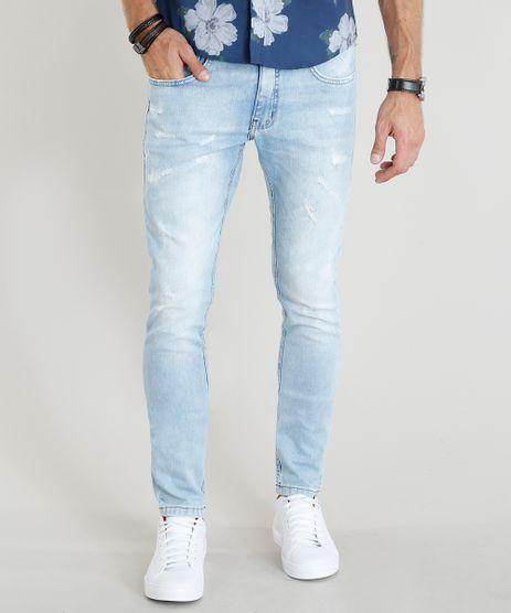 Calca-Jeans-Masculina-Skinny-com-Puidos-Azul-Claro-9305659-Azul_Claro_1