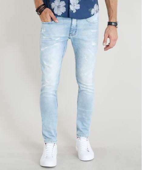 e13cf2a0f Calça Jeans Masculina Skinny com Puídos Azul Claro - cea