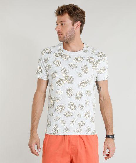 Camiseta-Masculina-Estampada-de-Folhagens-Manga-Curta-Gola-Careca-Cinza-Mescla-Claro-9356245-Cinza_Mescla_Claro_1
