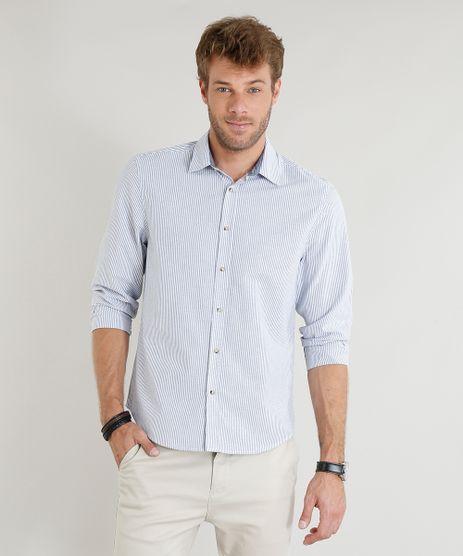 Camisa-Masculina-Slim-Estampada-Listrada-Manga-Longa-Azul-9253841-Azul_1
