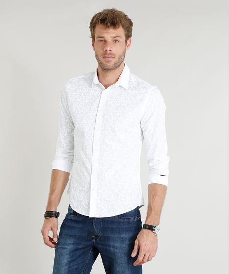 Camisa Masculina Slim Estampada de Folhagem Manga Longa Branca - cea 1d193bc963574