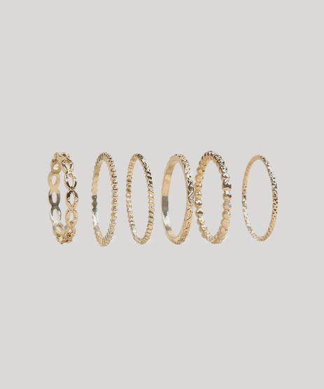 Kit-de-6-Aneis-Femininos-Texturizados-Dourado-9261874-Dourado_1