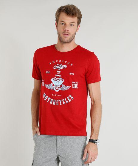 Camiseta-Masculina--Motorcycles--Manga-Curta-Gola-Careca-Vermelha-9374286-Vermelho_1