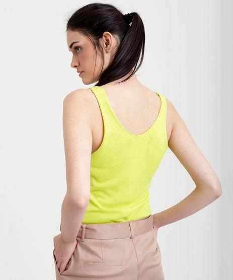 Regata-Feminina-em-Tricot-Decote-V-Amarelo-Neon-9357710-Amarelo_Neon_2