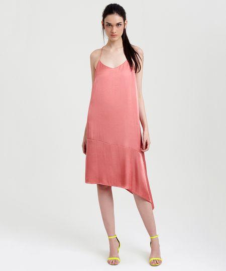 a548e6b43 Vestido Feminino Mindset Acetinado Assimétrico Coral | Menor preço ...
