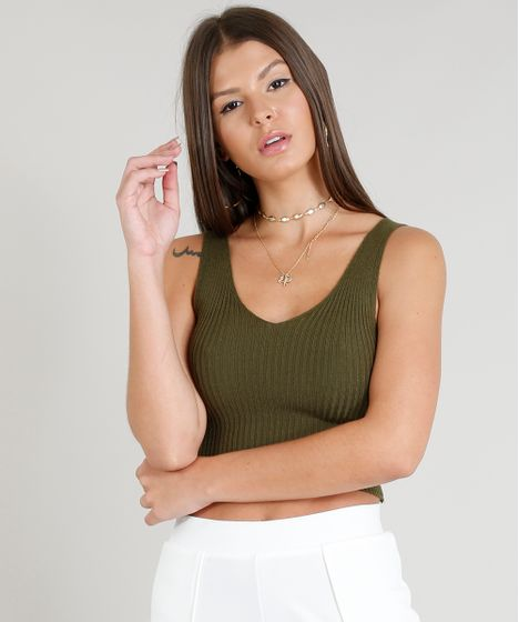 0a12be07a9 Regata Feminina Cropped Canelada em Tricô Decote V Verde - cea