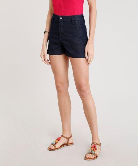 f8126b493 Short Jeans Feminino Cintura Alta Azul Escuro | Menor preço com cupom