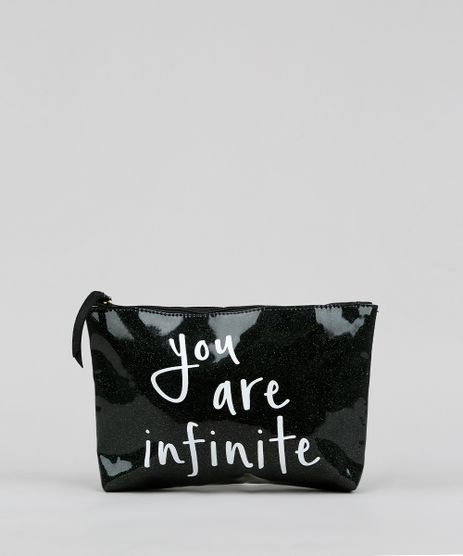 Necessaire-Feminina-com-Glitter--You-Are-Infinite--Preta-9376714-Preto_1