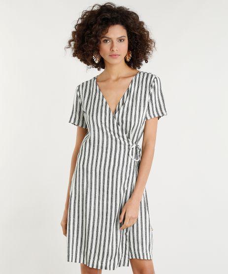 Vestido-Feminino-Curto-Envelope-Listrado-Manga-Curta-Bege-Claro-9368233-Bege_Claro_1