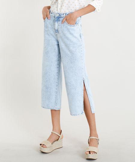 12015d0ee Menor preço em Calça Pantacourt Jeans Feminina com Fenda na Barra Azul Claro
