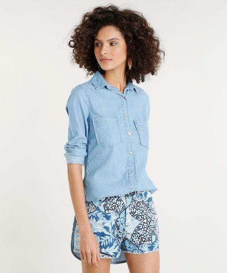 Camisa-Jeans-Feminina-Longa-com-Bolsos-Manga-Longa-Azul-Claro-9365638-Azul_Claro_1