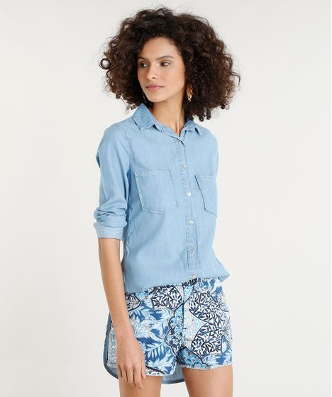 5f374ba49a Camisa Jeans Feminina Longa com Bolsos Manga Longa Azul Claro - cea