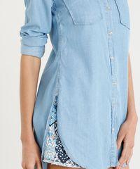 9f065ebe57 Camisa Jeans Feminina Longa com Bolsos Manga Longa Azul Claro ...