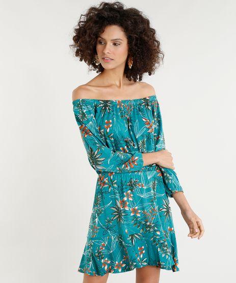 Vestido-Feminino-Curto-Ombro-a-Ombro-Estampado-de-Folhagens-Verde-9375869-Verde_1