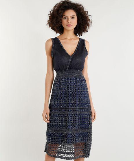 Vestido-Feminino-Midi-em-Trico-com-Lurex-Decote-V-Azul-Marinho-9357541-Azul_Marinho_1