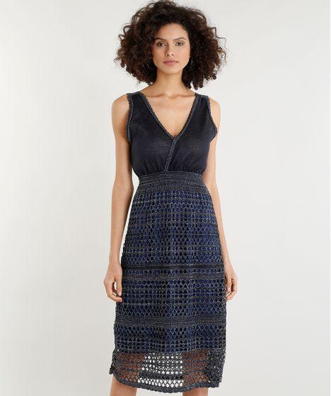 5ce398b927 Vestido Feminino Midi em Tricô com Lurex Decote V Azul Marinho - cea