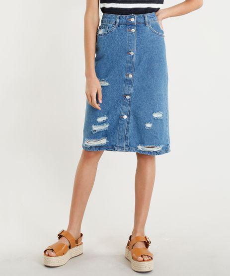 Saia-Jeans-Feminina-Midi-Destroyed-com-Botoes-Azul-Medio-9346386-Azul_Medio_1