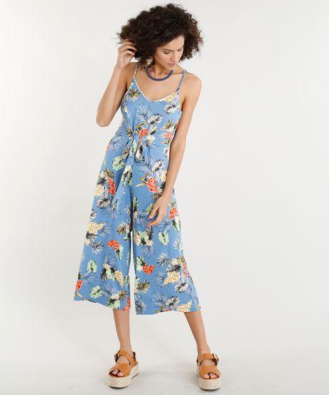 Macacao-Pantacourt-Feminino-Estampado-Floral-com-Laco-Alcas-Finas-Decote-V-Azul-9352761-Azul_1