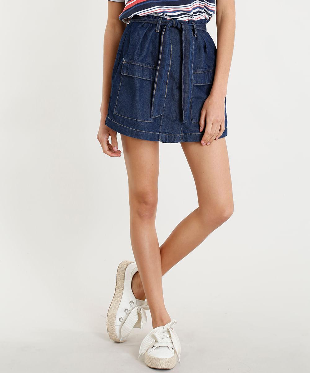 b33611109c Short Saia Jeans Feminino Clochard com Faixa de Amarrar Azul Escuro ...