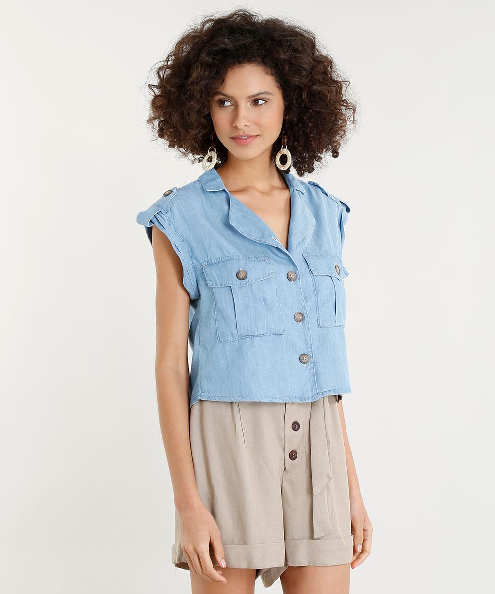 c62600ea5c Camisa Jeans Feminina com Bolsos Manga Curta Azul Claro - cea