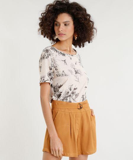 def5d76ce Menor preço em Blusa Feminina Estampada Floral com Lurex Manga Curta Decote  Redondo Bege