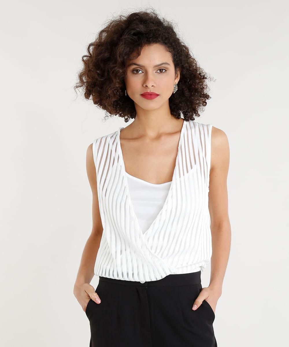2fb00399e Body Feminino Blusê com Sobreposição Listrado Decote V Branco - cea