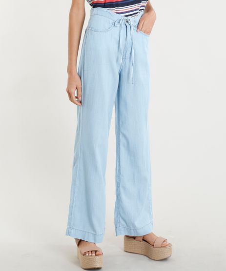 Calca-Pantalona-Jeans-Feminina-com-Amarracao-Azul-Claro-9365650-Azul_Claro_1