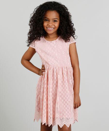 1a31953f73 Vestido Infantil em Renda com Vazado Rosa