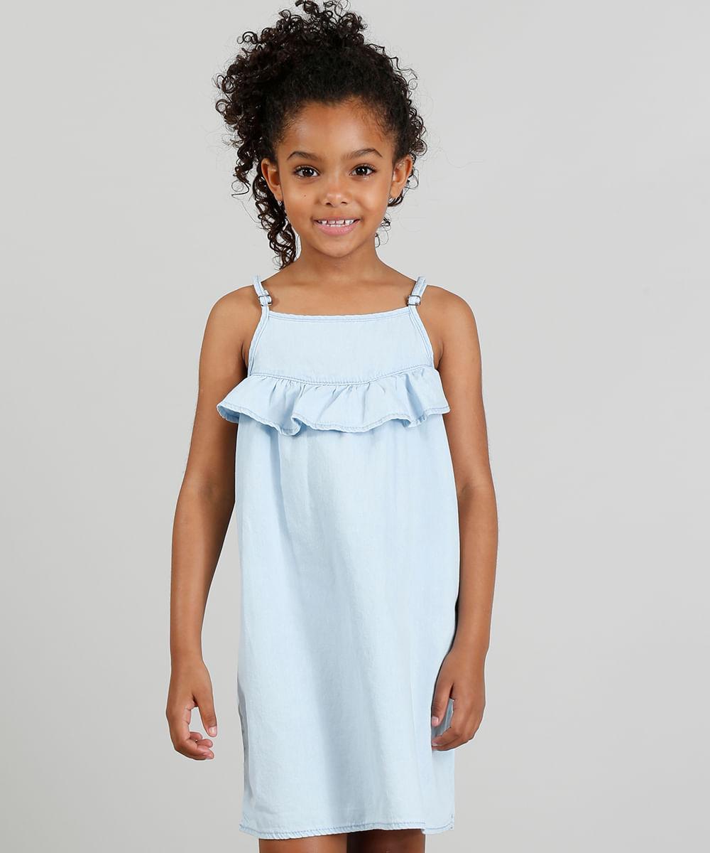 96c531e25d Vestido em Jeans Infantil com Babado Azul Claro - cea