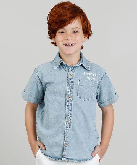 Camisa-Jeans-Infantil--Summer-4ever--Manga-Curta-Gola-Esporte-Azul-Claro-9320862-Azul_Claro_1