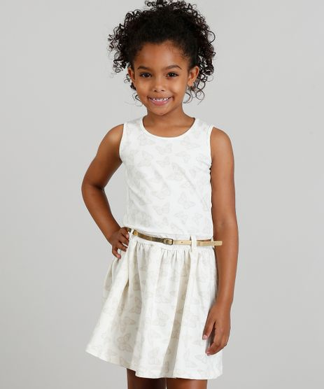 Vestido-Infantil-Estampado-de-Borboletas-com-Cinto-Metalizado-Bege-Claro-9318141-Bege_Claro_1