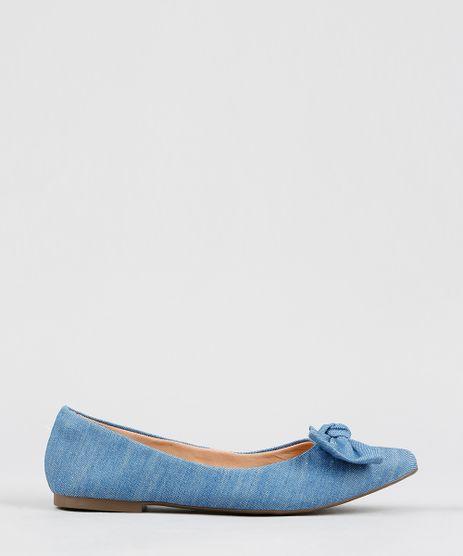 Sapatilha-Bico-Fino-Feminina-Via-Uno-com-Laco-em-Jeans-Azul-Claro-9422479-Azul_Claro_1