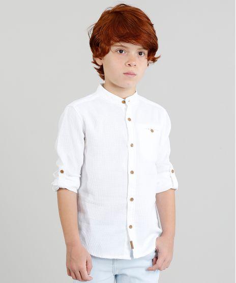 492198854332a Camisa-Infantil-Texturizada-Manga-Longa-Gola-Padre-Off-