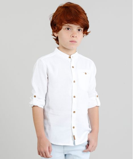 07857ef35 Camisa Infantil Texturizada Manga Longa Gola Padre Off White - cea