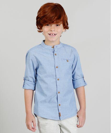 a205e9bc41a0f Camisa-Infantil-Texturizada-Manga-Longa-Gola-Padre-Azul-