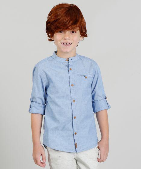 80cfbdb93c Camisa Infantil Texturizada Manga Longa Gola Padre Azul Claro - cea