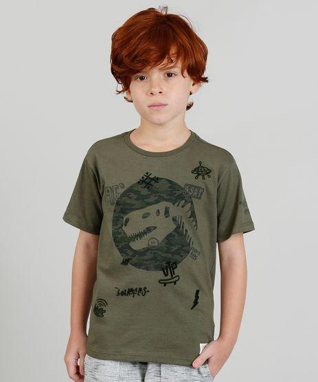 Camiseta-Infantil-com-Estampa-Dinossauro-Manga-Curta-Verde-Militar-9378184-Verde_Militar_1