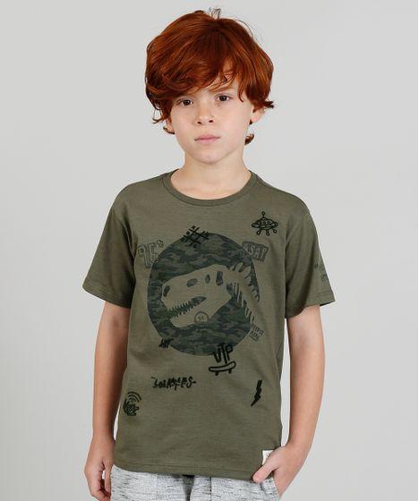 0783c31e2 Camiseta Infantil com Estampa Dinossauro Manga Curta Verde Militar - cea