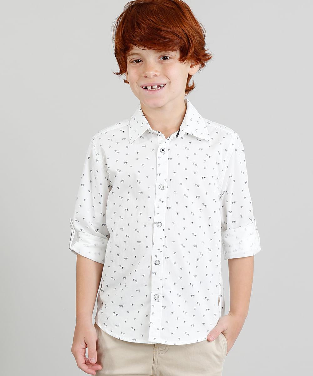 37202696ee71b Camisa Infantil Estampada Triângulos Manga Longa Gola Esporte Branca ...