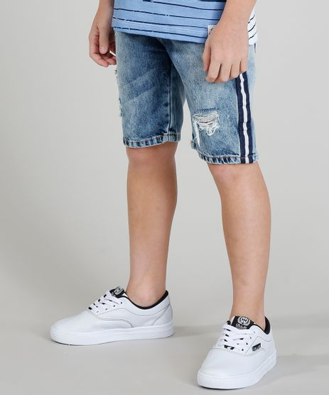 Bermuda-Jeans-Infantil-Destroyed-com-Faixa-Lateral-Listrada-Azul-Medio-9320260-Azul_Medio_1