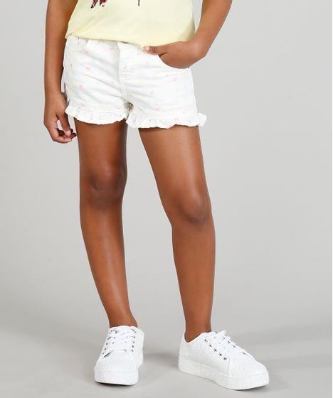 7b1f13c84 Short Color Infantil Estampado de Laços com Babado Off White - cea