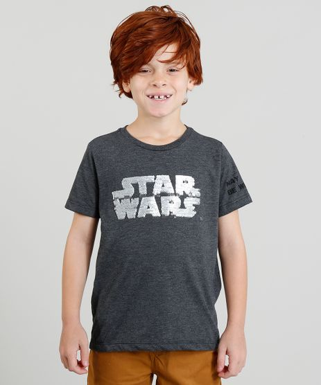 Camiseta-Infantil-Star-Wars-com-Paete-Dupla-Face-Manga-Curta-Gola-Careca-Cinza-Mescla-Escuro-9375098-Cinza_Mescla_Escuro_1